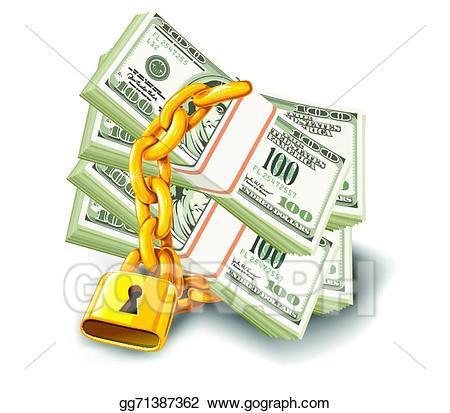 Lock clipart money. Vector art dollars locked