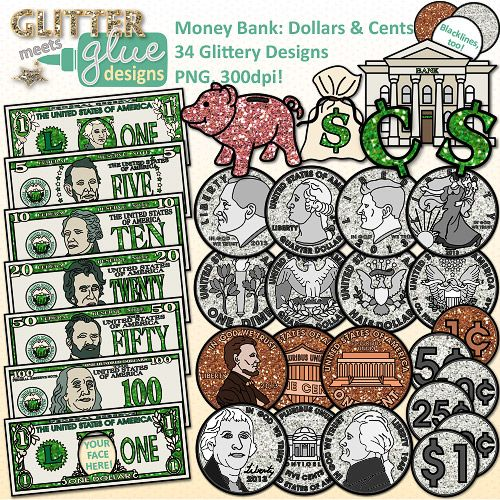 Clip art counting sorting. Clipart money math