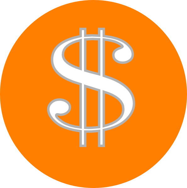 Clipart money orange. Dollar sign clip art