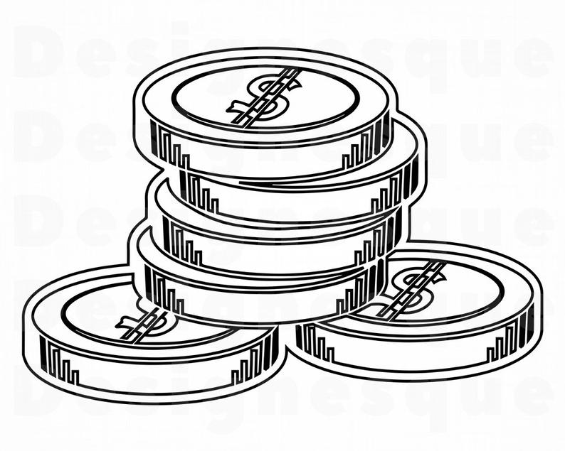 Clipart money outline. Coins svg files for