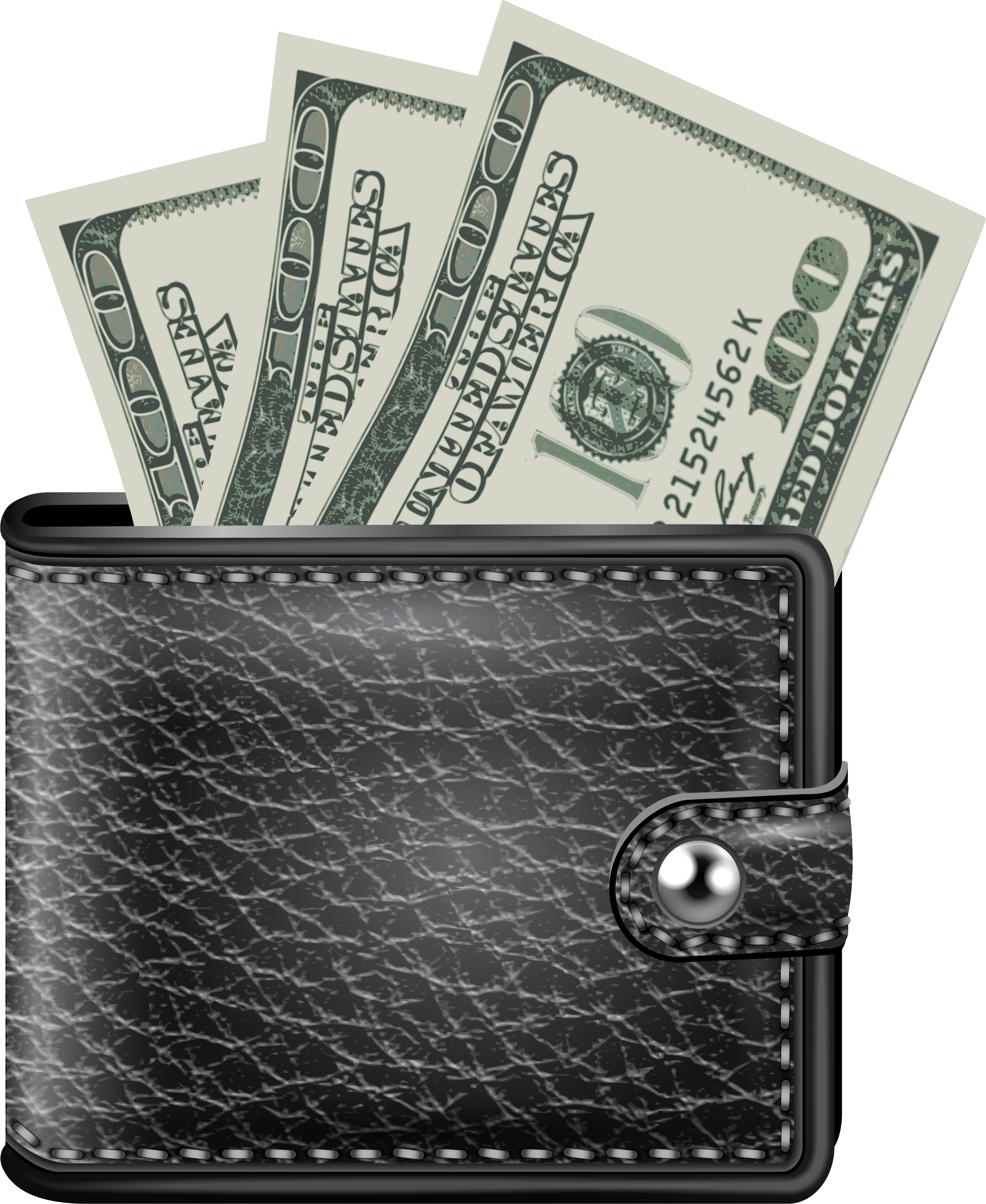 Black with money png. E clipart wallet