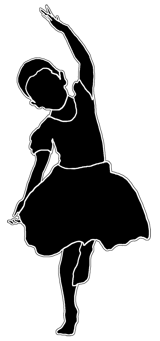 Dance clipart black and white. Beautiful silhouettes of children