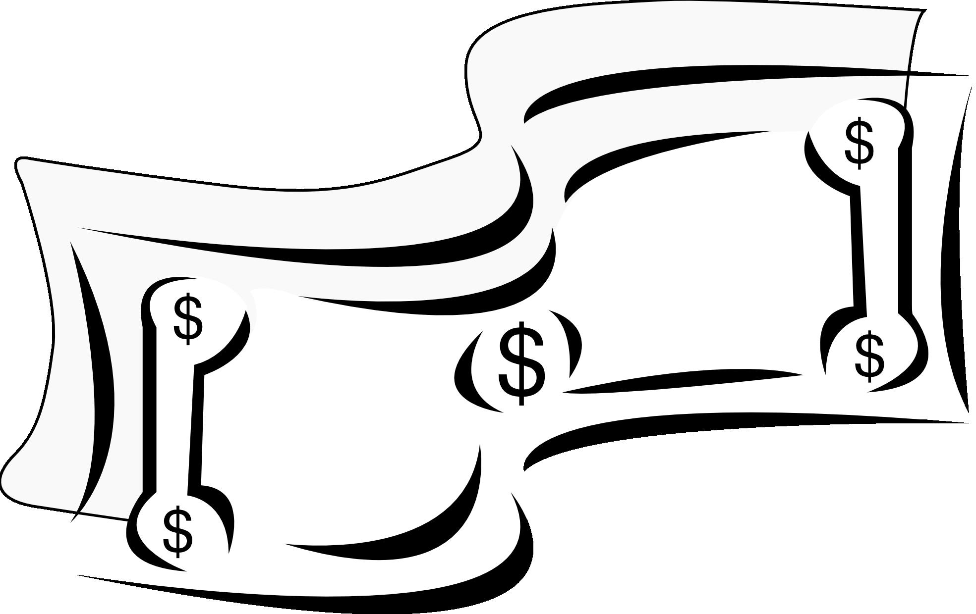 Bills black and white. Money clipart brain