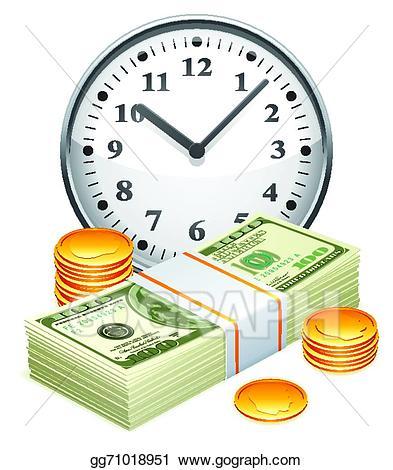 Vector art is concept. Clipart money time