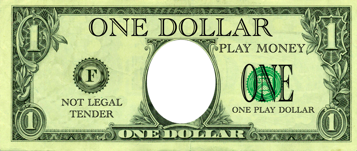 Fake money collection template. Paper clipart examination paper