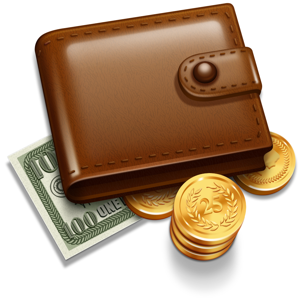Money clipart purse. Wallet with five isolated