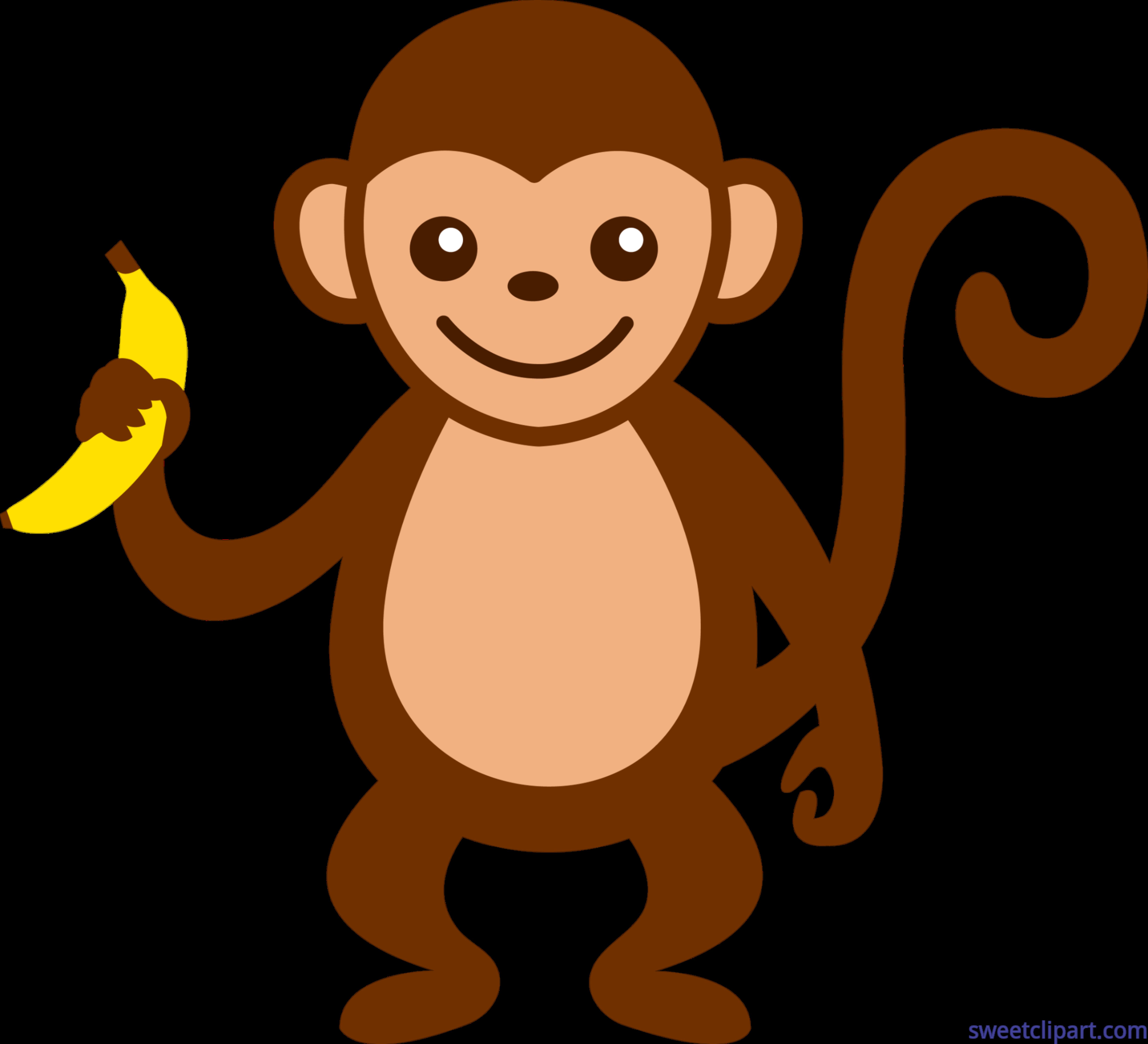 Clipart monkey. With banana clip art