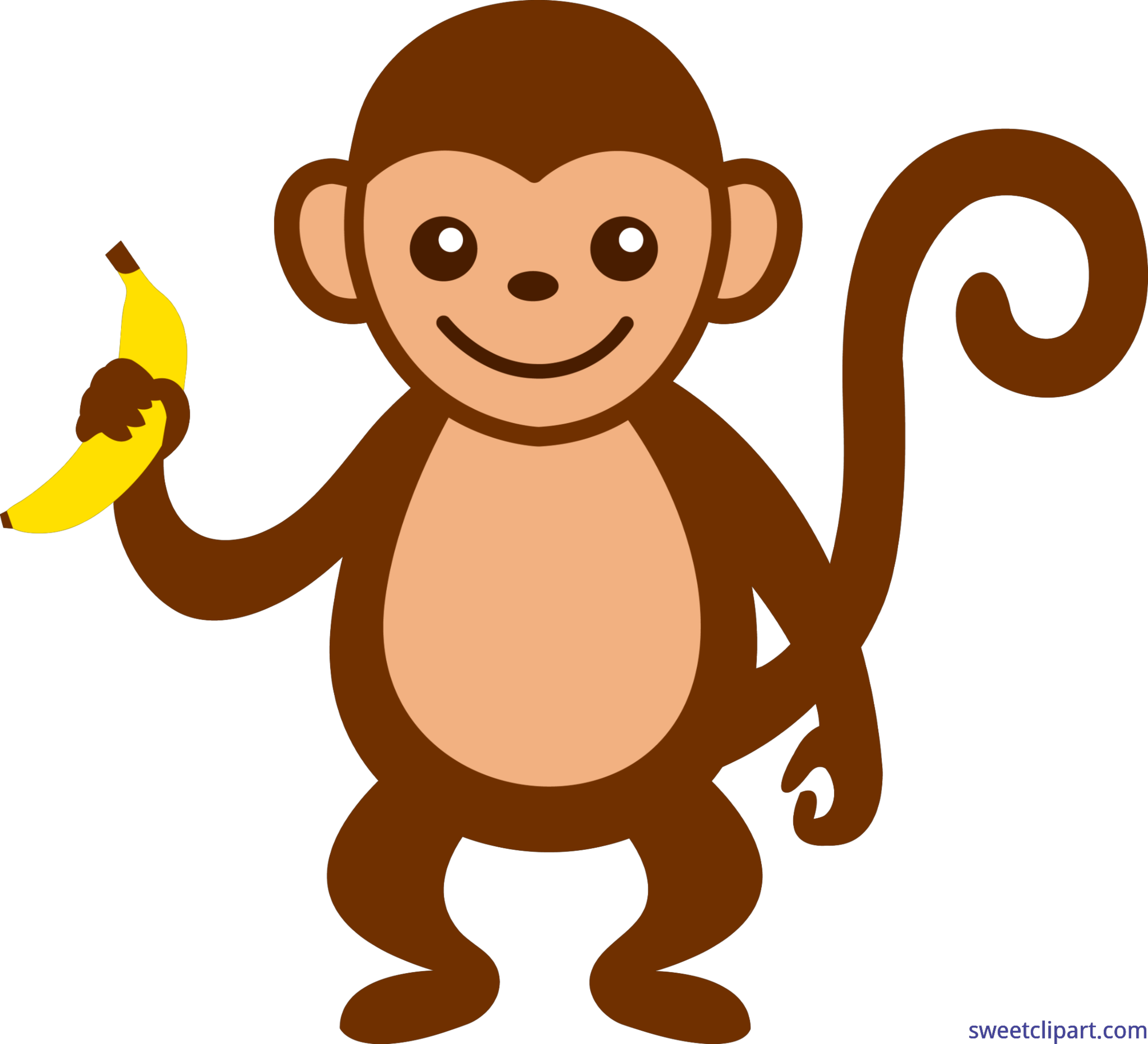 With banana clip art. Food clipart monkey