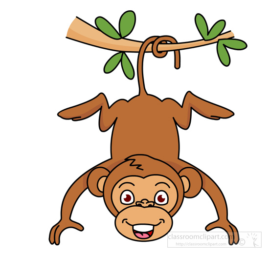 Clipart monkey. Hanging from tree classroom