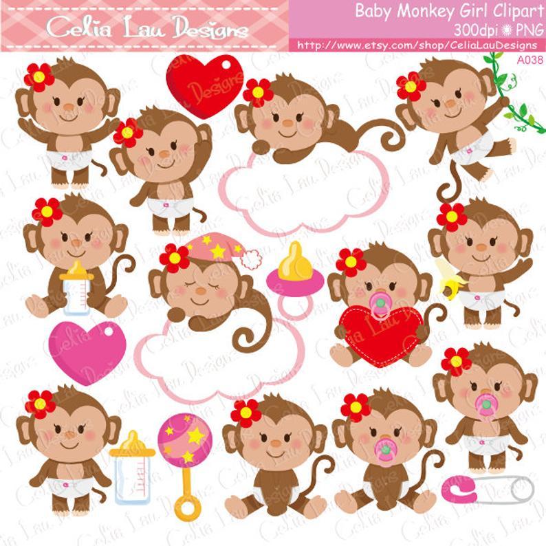 Cute . Monkey clipart baby girl