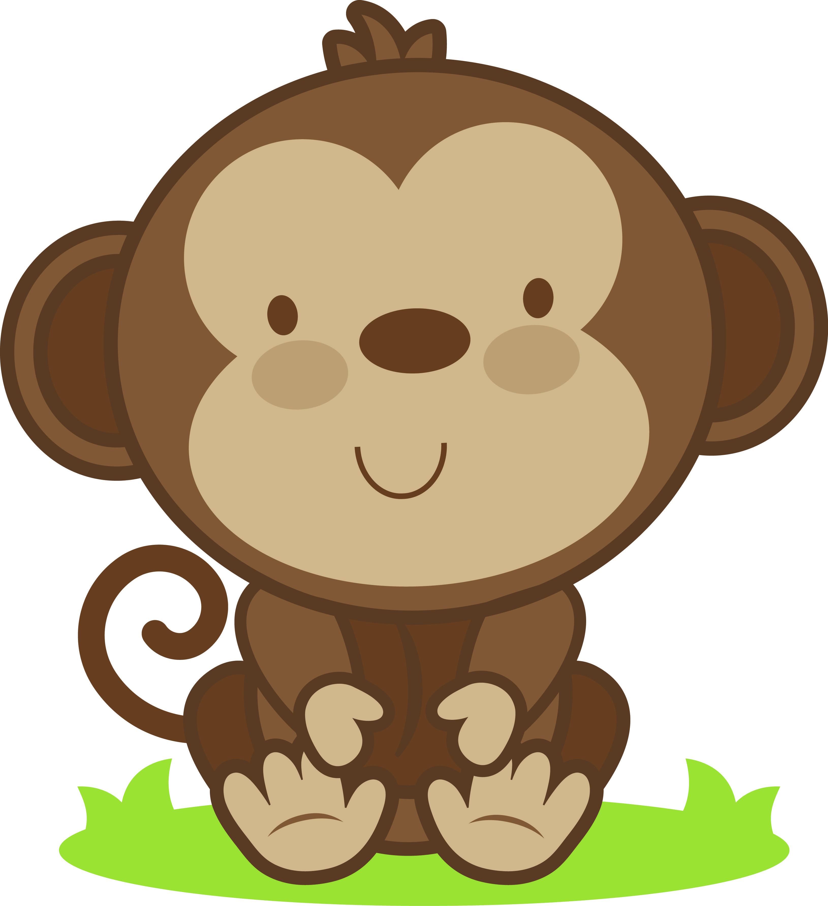 Clipart monkey baby monkey. Cute station