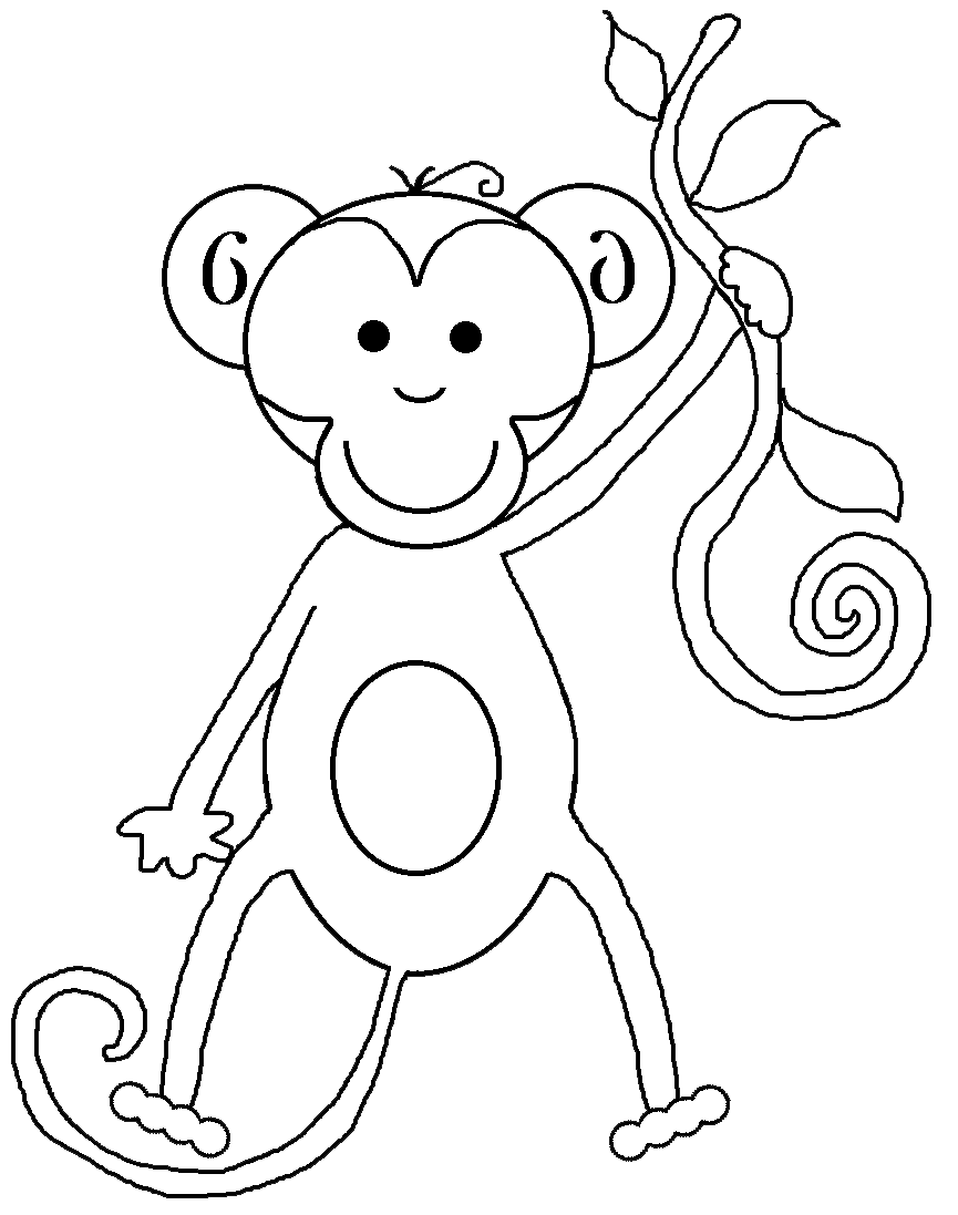 Png black and white. Monkey clipart outline