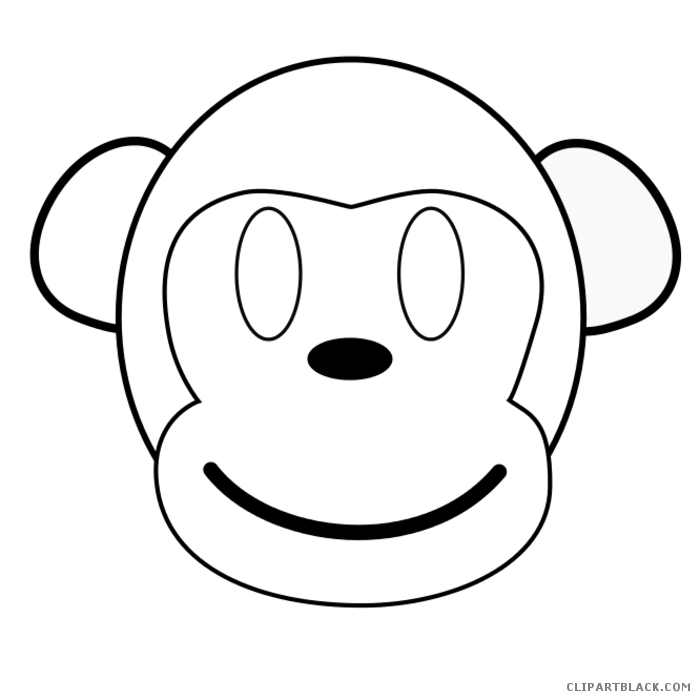 Monkey clipart outline. Clipartblack com animal free