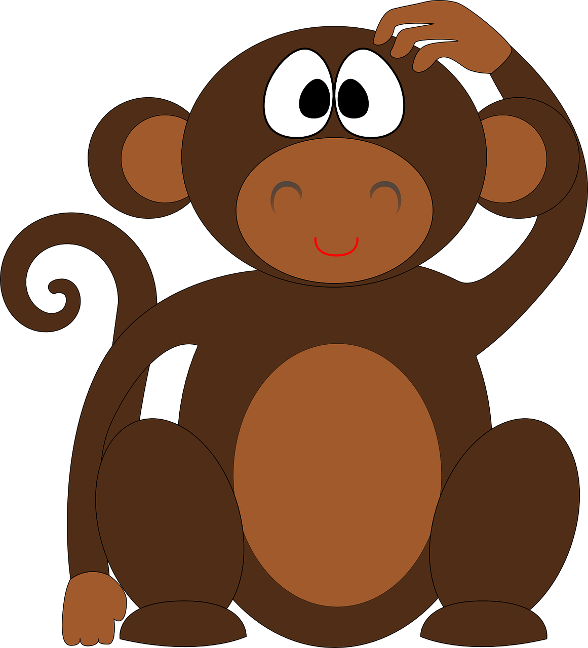 Clipart monkey body.  simple steps to