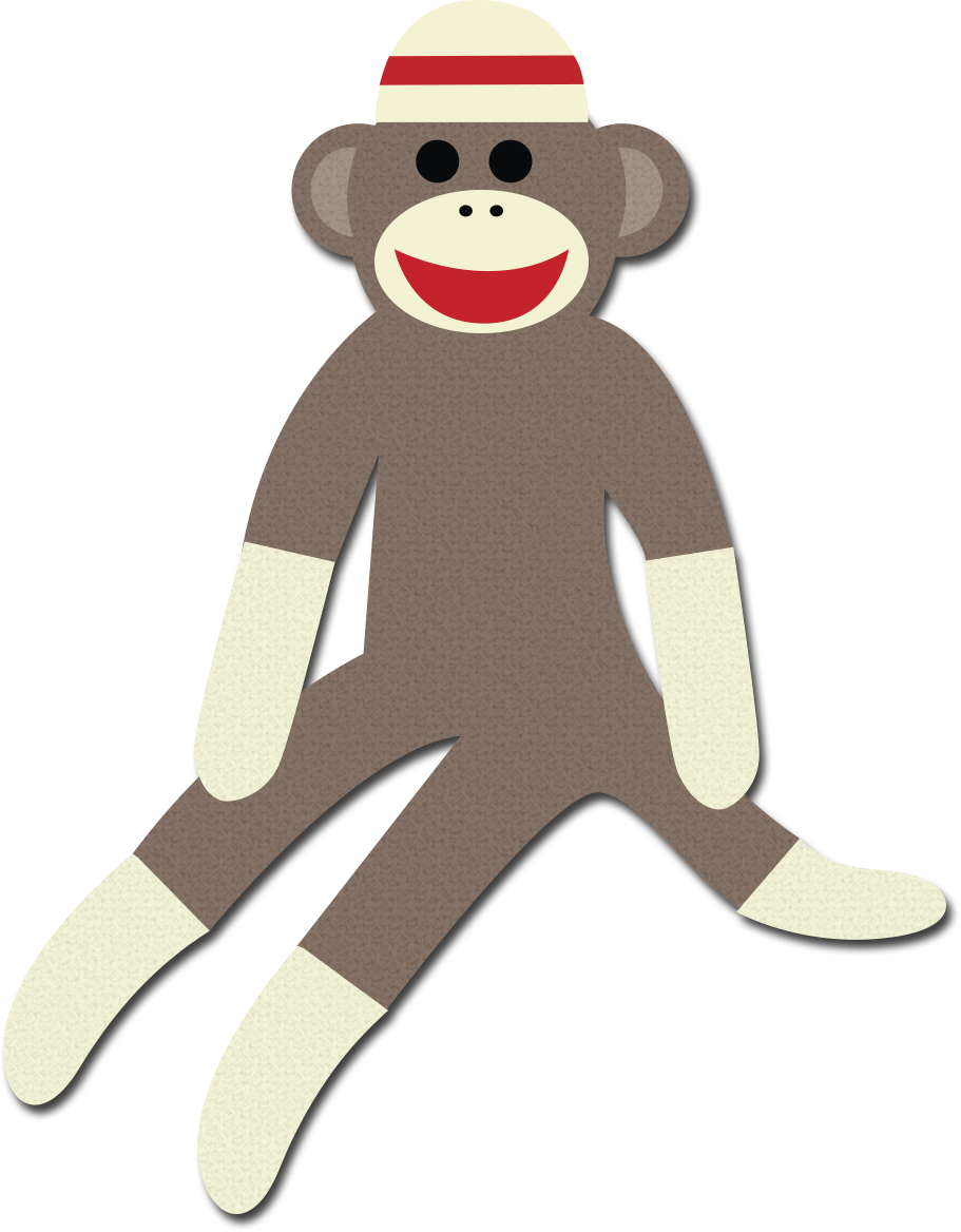 Monkey clipart outline. Sock