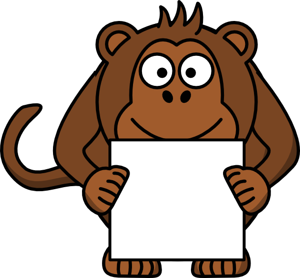 Monkeys clipart animal. Monkey with sign clip