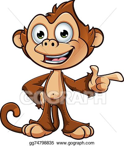 Vector stock character illustration. Clipart monkey cheeky monkey