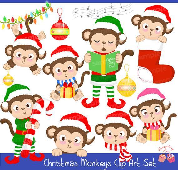 Clipart monkey christmas. Monkeys set