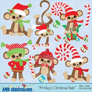 Amb . Clipart monkey christmas