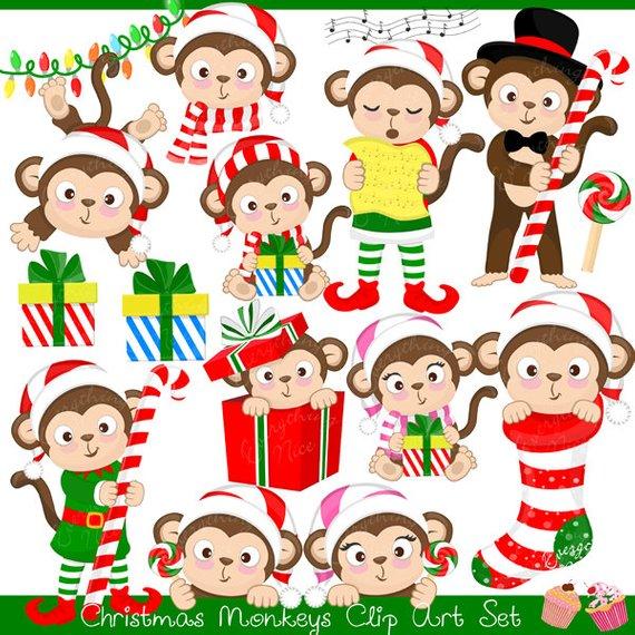 Clipart monkey christmas. Monkeys set products clip