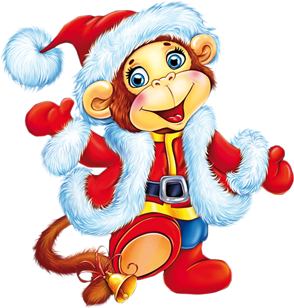 Clipart monkey christmas. Santa picture cute