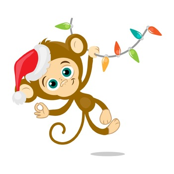 Happy new year holidays. Clipart monkey christmas