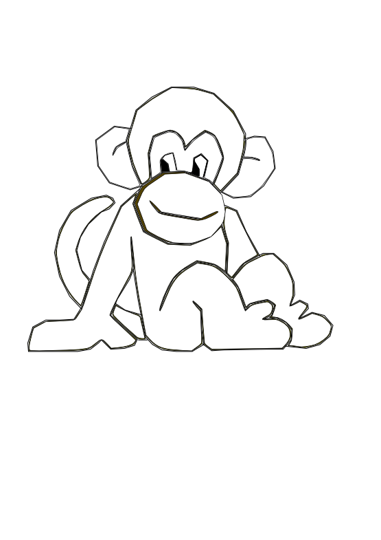 Mono colombiano monkey black. Nail clipart coloring book