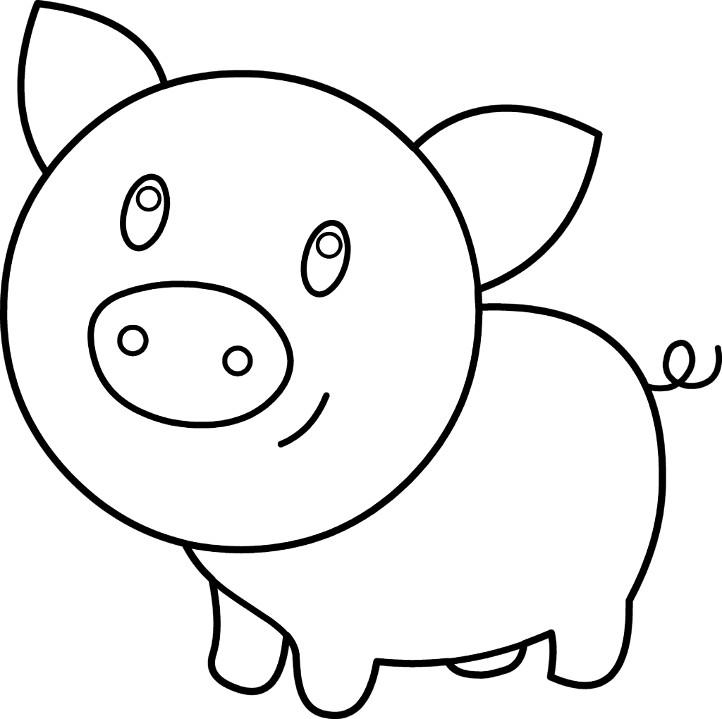 Cute chubby coloring pages. Clipart pig kid