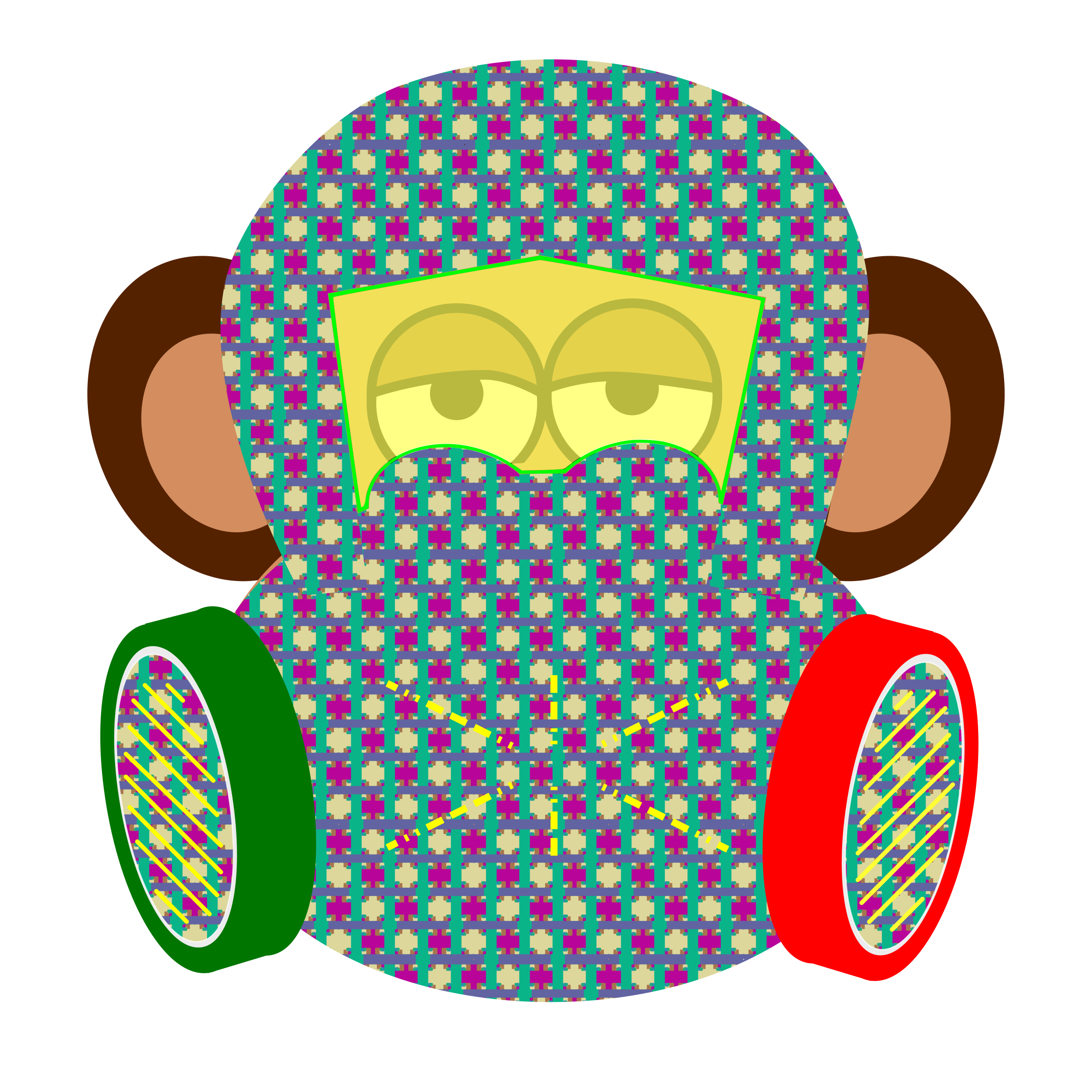 Costume clipart monkey. Wears gas mask with