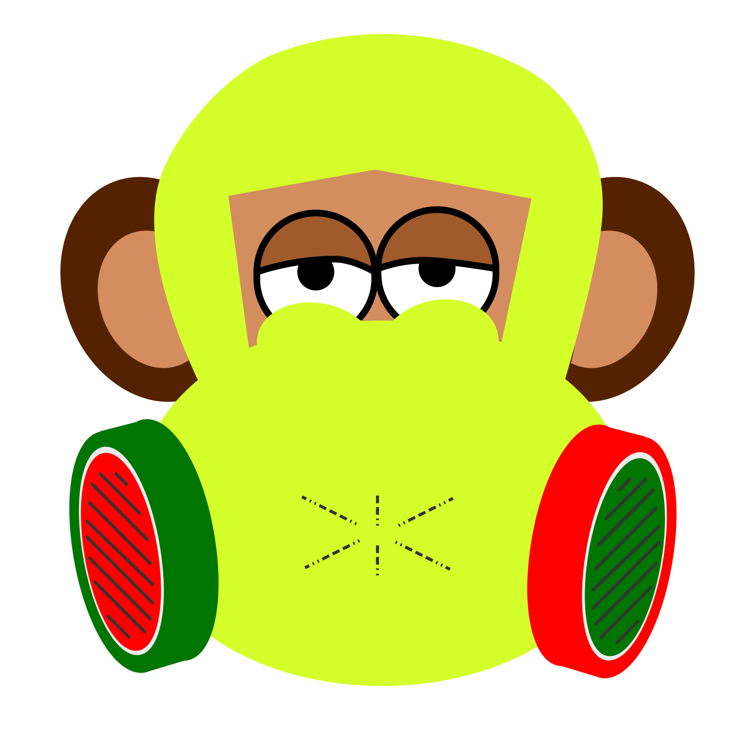 Wears gas mask big. Costume clipart monkey