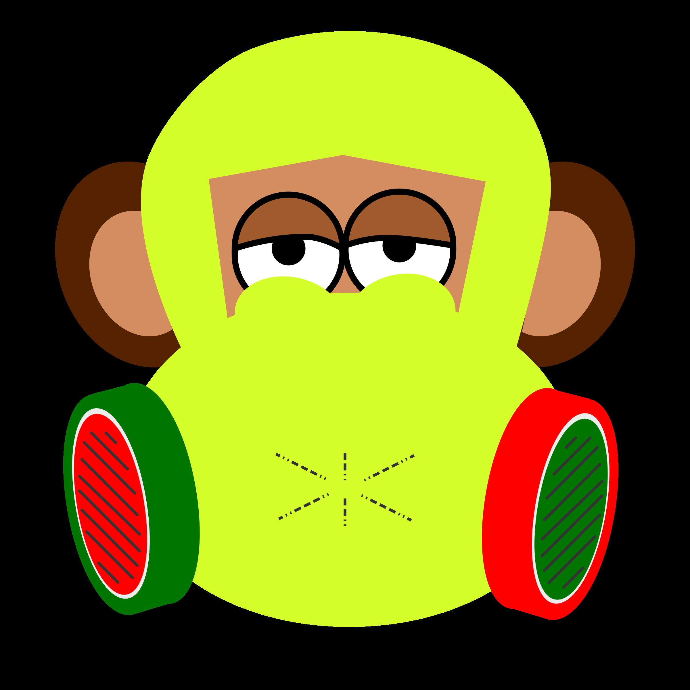 Mask clipart pilot. Monkey wears gas big