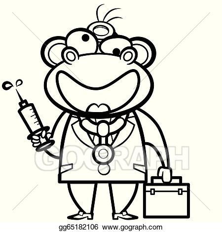Monkeys clipart doctor. Eps illustration coloring cartoon