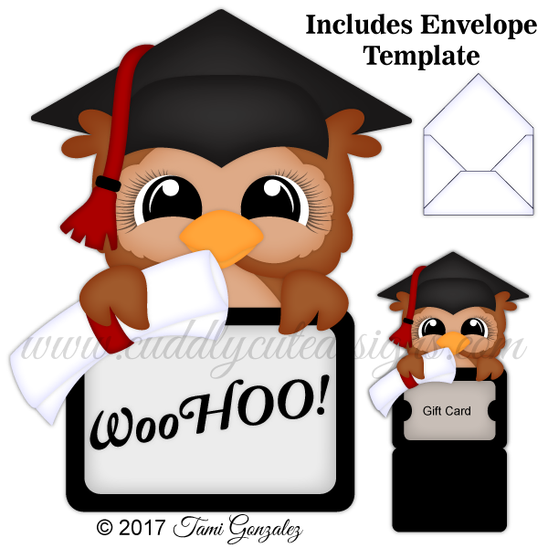 Future clipart grad. Owl gift card holder