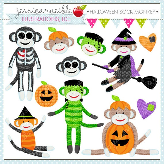 Sock cute digital commercial. Clipart monkey halloween