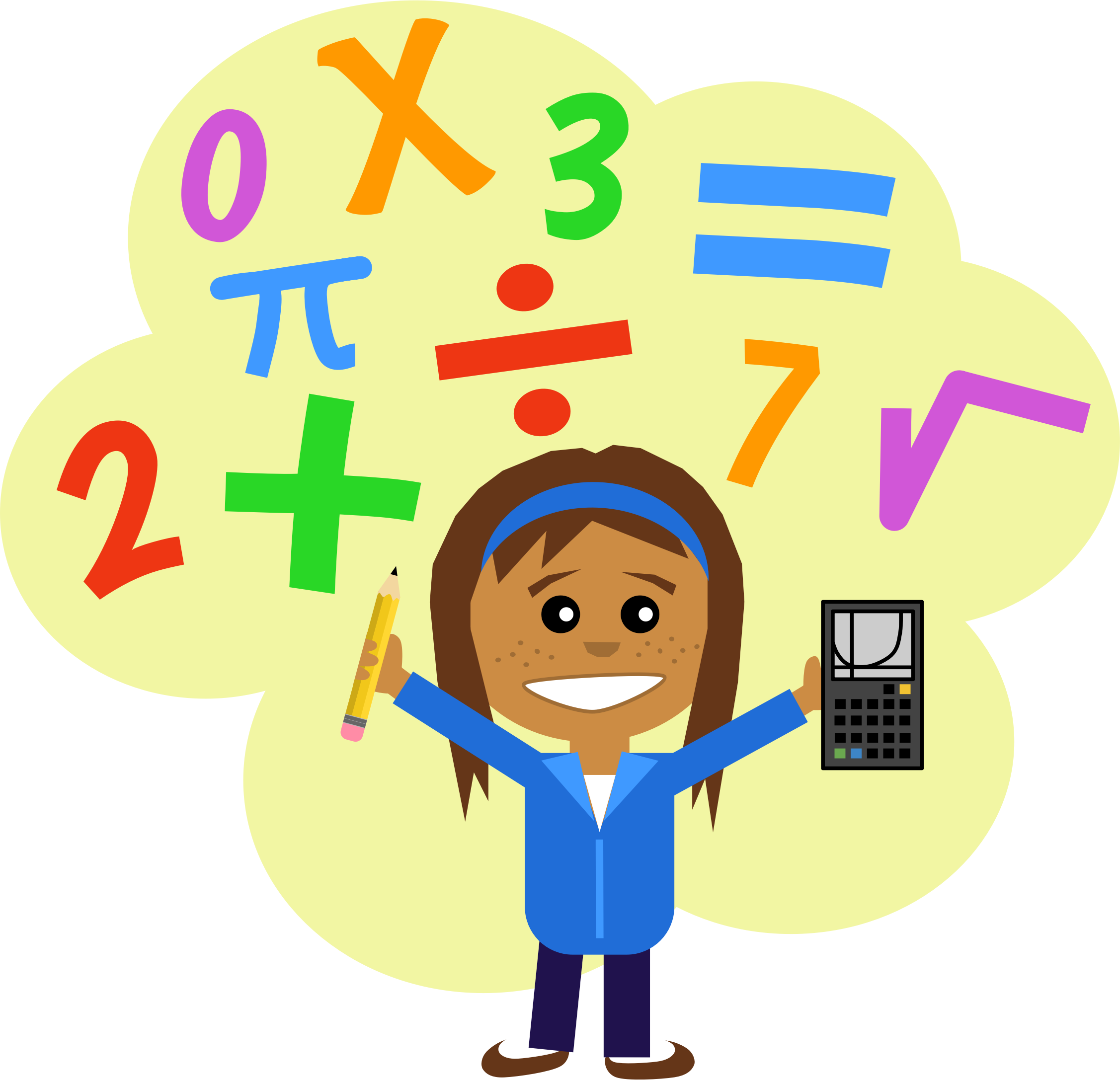 Pencil clipart calculator. Math girl by scout
