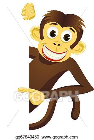 Vector illustration cute eps. Clipart monkey mokey