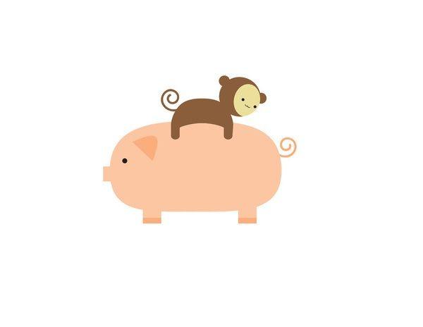 Monkey and animals i. Monkeys clipart pig
