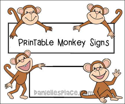 Monkey theme crafts and. Monkeys clipart sign