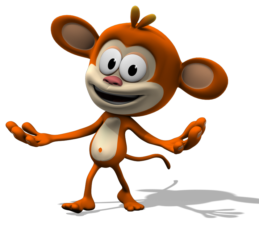 Monkey the real qubo. Television clipart animated