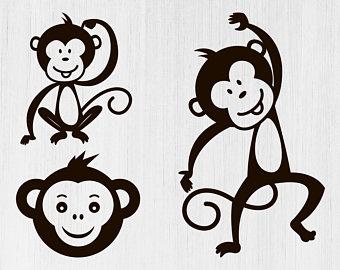 Clipart monkey stencil. Etsy