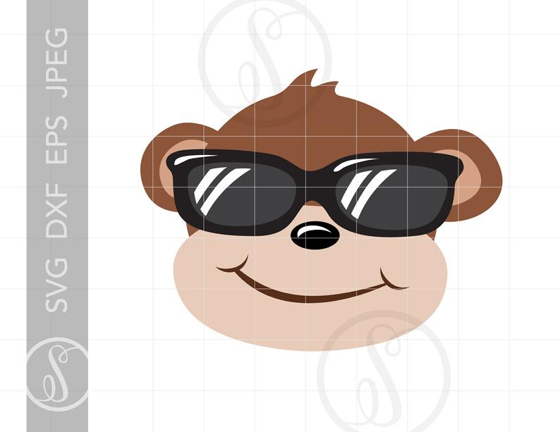 Cool svg cut file. Monkey clipart sunglasses