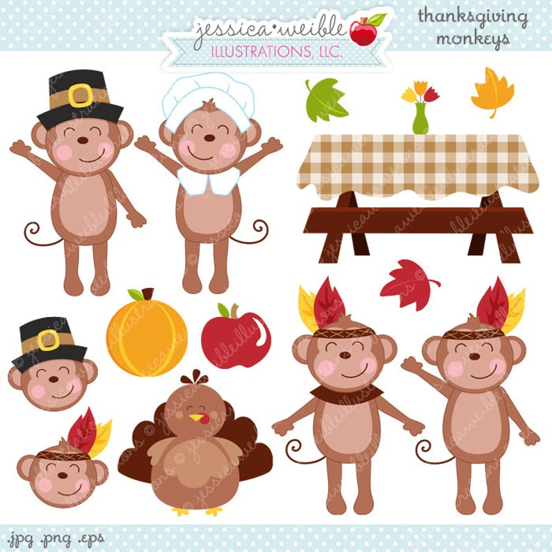 Monkeys cute digital commercial. Monkey clipart thanksgiving