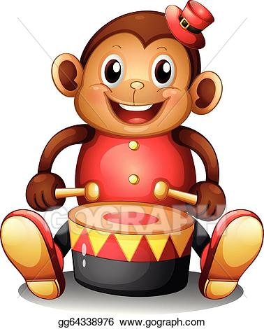 Vector a musical monkey. Monkeys clipart toy