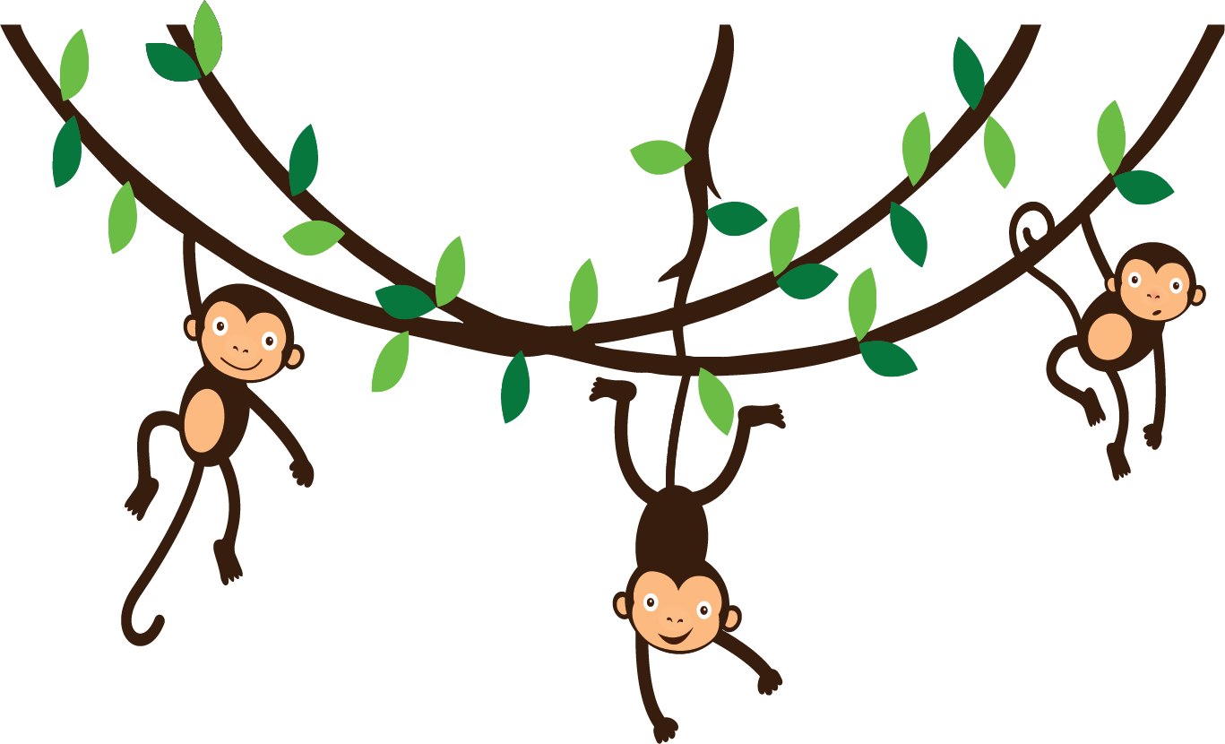 collection of hanging. Clipart trees monkey