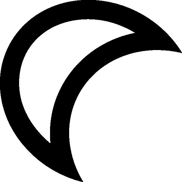 Clipart sun quarter. Moon outline clip art