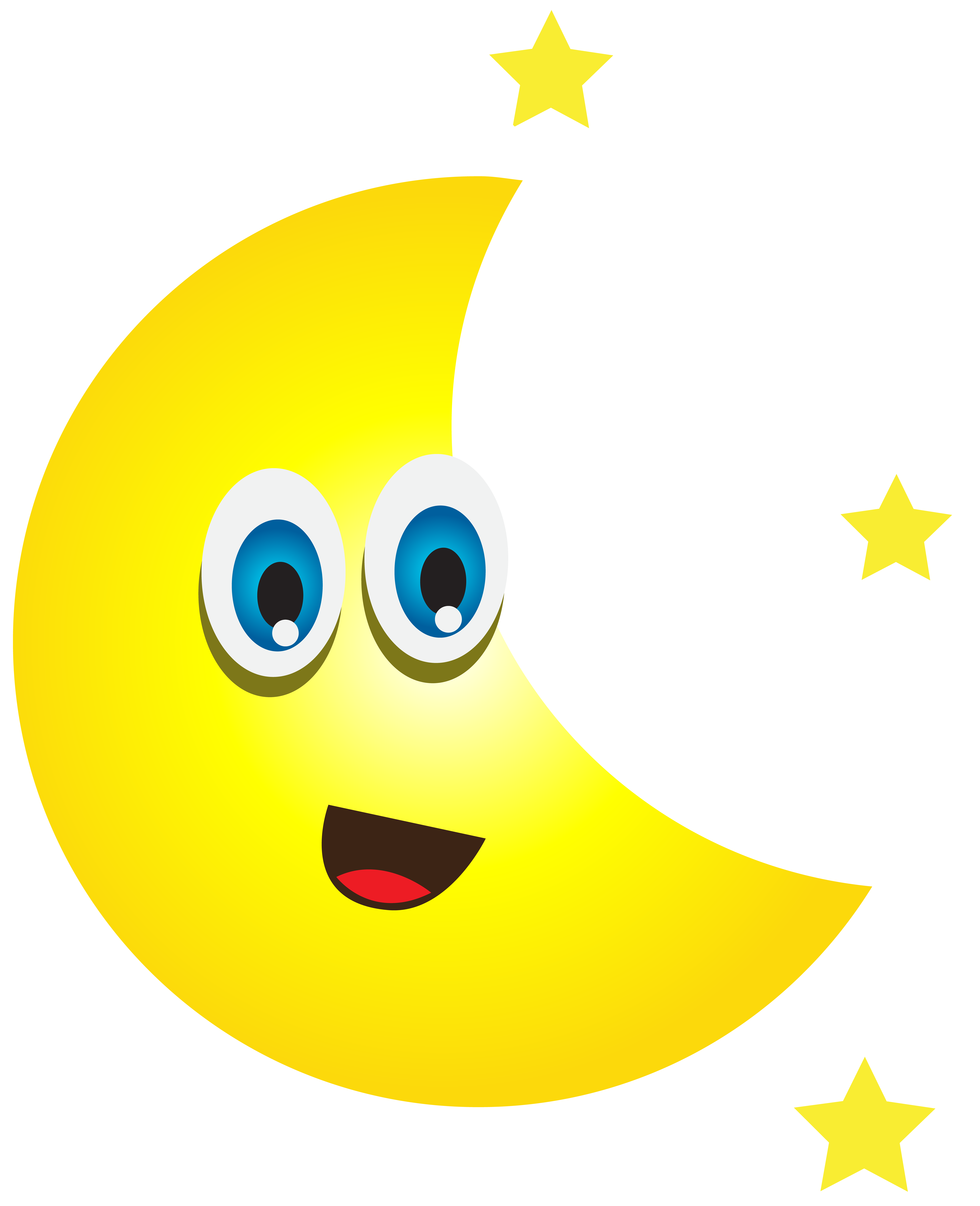 Clipart moon cartoon. With stars png clip