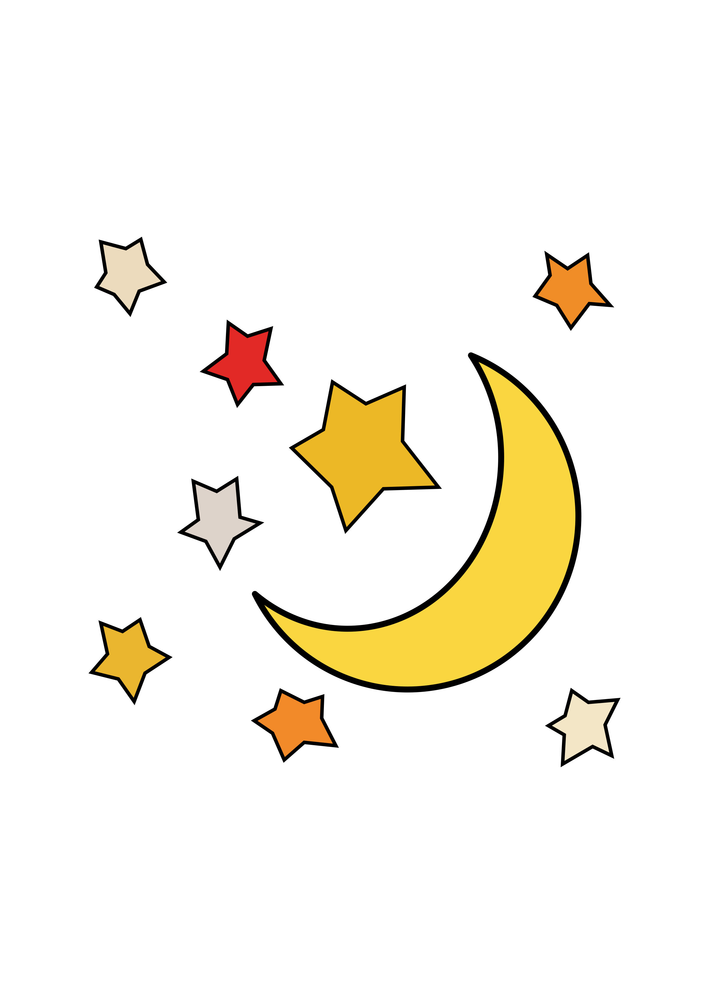 And stars big image. Clipart moon cartoon
