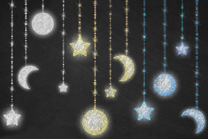 Clipart moon chalkboard. Celestial and stars chalk