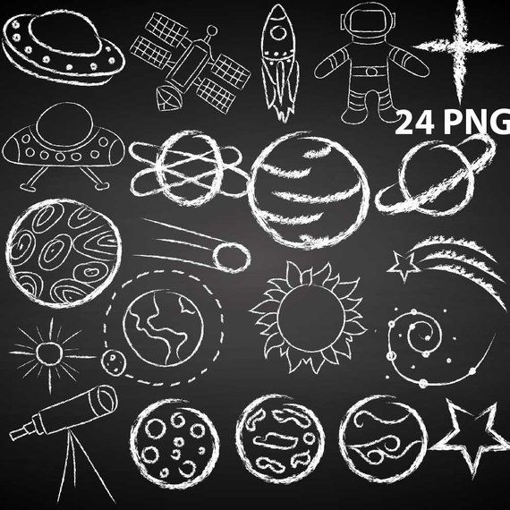 Outer space doodle made. Clipart moon chalkboard