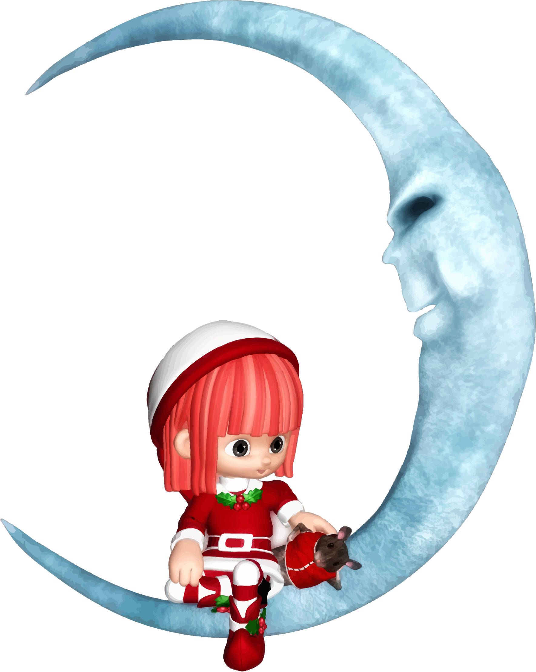 Elf sitting on crescent. Clipart moon christmas